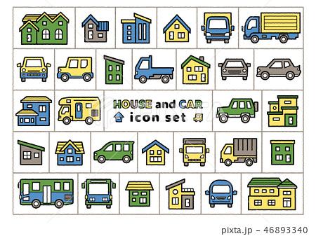 家と車のイラスト手書風線画アイコンセット