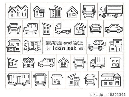 家と車のイラスト手書風線画のみアイコンセット