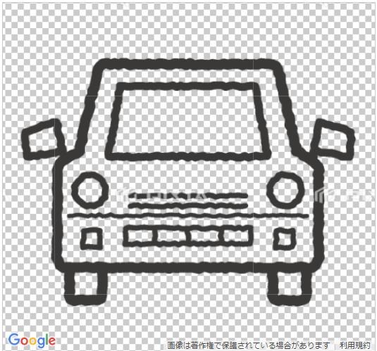 車のイラスト手書風線画のみ