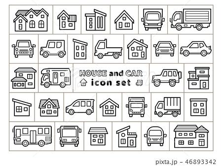 家と車のイラスト線画のみアイコンセット